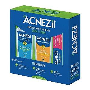 Acnezil Kit Tratamento (gel secativo + Sab. Limp + Loc. Ads)