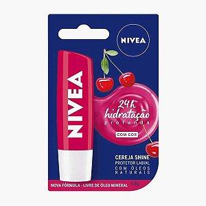 Protetor Labial Nivea Lip Care Cereja Shine Com Cor 4,8gr