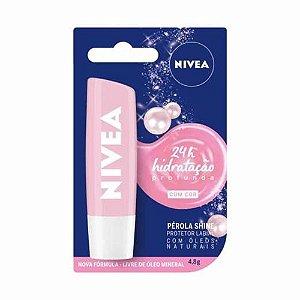 Protetor Labial Nivea Lip Care Pérola Shine Com Cor 4,8gr