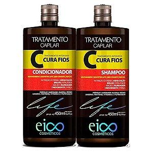 Kit Eico Shampoo+Condicionador Cura Fios 450ml Cada