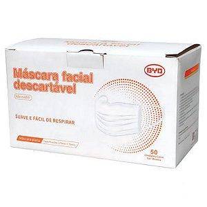 Máscara Descartável Tripla Camada Clipe Nasal BYD Care 50un