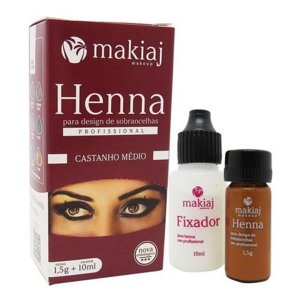 Henna Sobrancelhas Makiaj Castanho Médio 1,5g +10ml
