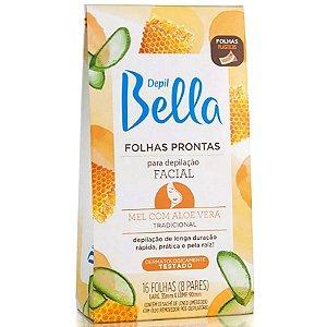 Depil Bella Folhas para depilação Facial 16un mel aloe