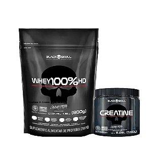KIT BLACK SKULL 12 -  WHEY 100% HD 900G REFIL + CREATINE 150G