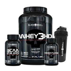 KIT CAVEIRA PRETA - WHEY 3HD 900G + BCAA 2400 100 TABLETS + THERMO FLAMME 60 TABLETS