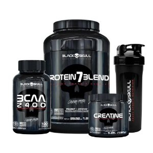 KIT BLACK SKULL 6 - PROTEIN7BLEND 840G + BCAA 2400 100 TABLETS + CREATINE 150G + COQUETELEIRA