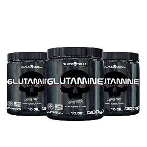 COMBO - 3x GLUTAMINA BLACK SKULL - 300G