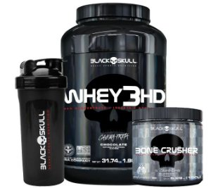KIT BLACK SKULL 7 - WHEY 3HD 900G + BONE CRUSHER 150G + COQUETELEIRA
