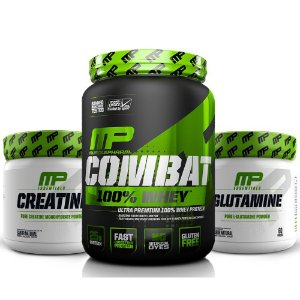 KIT MP 1 - COMBAT 100% WHEY + CREATINE 300G + GLUTAMINE 300G