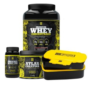 KIT IRIDIUM - WHEY CONCENTRADO 900G + PHOENIX BCAA 1500 90 CAPS + ATLAS CREATINE 150G + MARMITERA