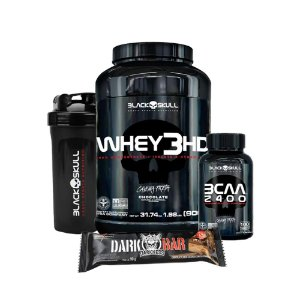 KIT BLACK SKULL 9 - WHEY 3HD 900G + BCAA 2400 100 TABLETS + DARK BAR + COQUETELEIRA