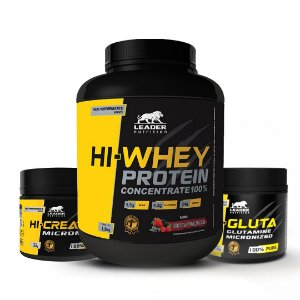 KIT LEADER 3 -  HI WHEY 1,8G + HI CREATINE 300G + HI GLUTA 150G