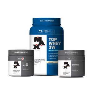 KIT MAX 1 - TOP WHEY 3W 900G + L-G 300G + CREATINE 300G