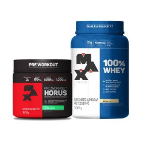 KIT MAX 8 - 100% WHEY 900G + HORUS 300G