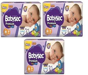 Fralda Babysec Premium Noturna M 102 unidades