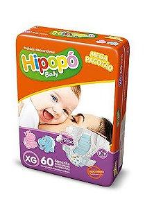 Fralda Infantil Hipopo XG Mega com 60 unid