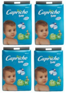 Fraldas Descartáveis-Capricho Baby-EG  256 Unidades