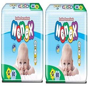 Fraldas Descartáveis-Infantil Nenex DIA/NOITE-G 160 unidades