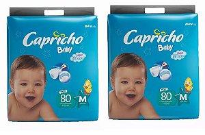 Fraldas Descartáveis-Capricho Baby-M 160 Unidades
