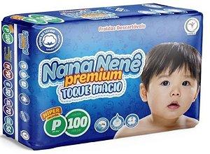 Fralda infantil Nana Nenê Premium Toque Macio P-100 unidades
