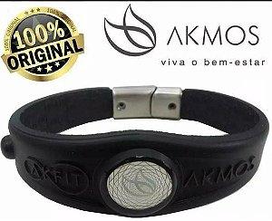 Pulseira Bracelete Akfit Elegance Magnética Preta i9 Fitness Akmos Preta tamanho (G)