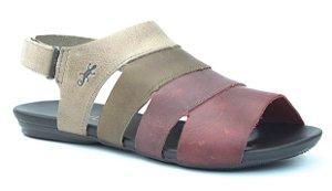 Sandália Rasteira Feminina em Couro Wuell Casual Shoes - Ouro Preto - vc 83710 - marmo  taupe  vinho