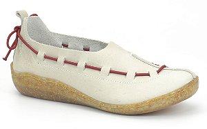 Sapato Feminino em couro Wuell Casual Shoes - Salar - 57107 RO - off white