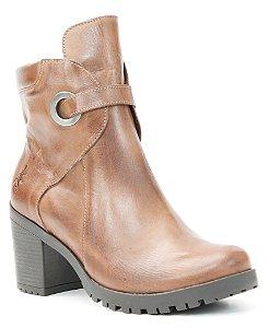 Bota salto Feminina em Couro Wuell Casual Shoes - PACHA 2394 - marrom