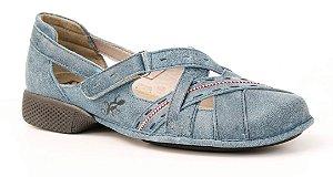 Sapato feminino em couro Wuell Casual Shoes - Tiradentes - AD 0900 - indigo