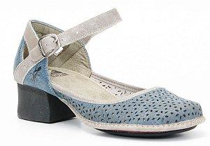 Sapato feminino de salto em couro Wuell Casual Shoes - Koya - KC 2400 - indigo e glace