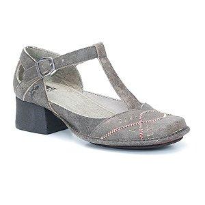 Sapato feminino de salto em couro Wuell Casual Shoes - KOYA - KC 5800 - marrom rústico