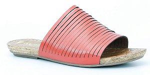 Sandália feminina baixa em couro Wuell Casual Shoes - Mariana- DO 59113 - vermelho