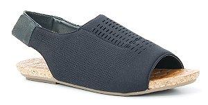 Sandália Rasteira feminina baixa em Neoprene Wuell Casual Shoes - Mariana - DO 59813 - preto