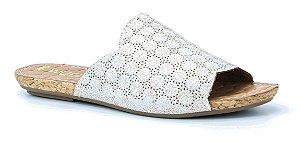Sandália feminina baixa em couro Wuell Casual Shoes - Mariana- DO 59513 - branco