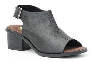 Sandália feminina em couro salto médio Wuell Casual Shoes - Catas Altas - NMB 04879 - preto