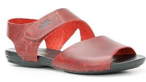Sandália Rasteira feminina em couro Wuell Casual Shoes -Ouro Preto - VC 02010 - vermelho