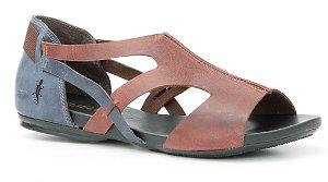 Sandália feminina em couro Wuell Casual Shoes -Ouro Preto - VC 72810 - marinho e vinho
