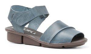 Sandália de salto anabela feminina em couro Wuell Casual Shoes - Congonhas - RO 03511 - marinho