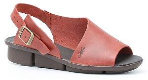 Sandália de salto anabela feminina em couro Wuell Casual Shoes - Congonhas - RO 04711 - vermelho