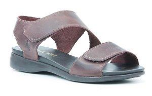 Sandália feminina em couro Wuell Casual Shoes - Ouro Preto - VC 96380 - vinho