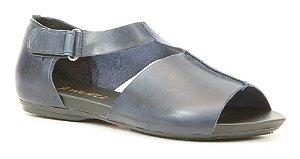 Sandália Rasteira feminina em couro Wuell Casual Shoes - Ouro Preto - VC 09110 - petróleo