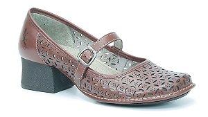 Sapato Feminino em couro salto médio Wuell Casual Shoes - Koya - KC 4200 - vermelho