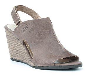Sandália Feminina Salto Anabela em couro Wuell Casual Shoes - Lavras Novas  - VN 155401 - marrom