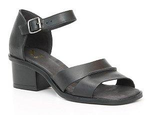 Sandália feminina em couro salto médio Wuell Casual Shoes - Catas Altas - NMB 05879 - preta