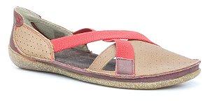 Sapato Feminino em couro Wuell Casual Shoes - Diamantina - ZM 3075 - bordô e bege