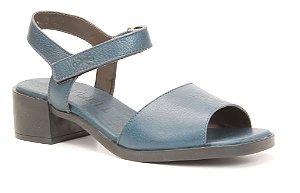 Sandália Feminina em couro salto médio Wuell Casual Shoes - Diamantina - ZM 0249 - marinho