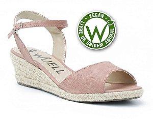 Sandália salto Anabela Feminina Wuell Casual Shoes - Vegan 446170 -rosa