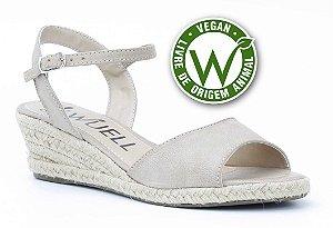 Sandália salto Anabela Feminina Wuell Casual Shoes - Vegan 446170 - areia
