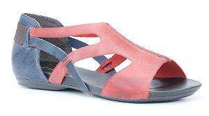 Sandália feminina em couro Wuell Casual Shoes -Ouro Preto - VC 72810 - marinho e vermelho