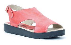 Sandália Plataforma feminina em couro Wuell Casual Shoes - Ouro Branco - AB 03120 - vermelha